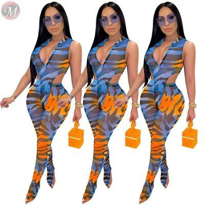 0040707 Best Seller Sexy V Neck Zipper New Stripe Sleeveless Ladies Clothing Stylish Pants 2 Piece Set Women Pant Sets