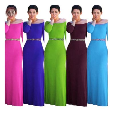 0041416 Lady Elegant off the shoulder half sleeve solid color Sexy party Clothes Summer Women Girls' Casual Maxi Long Dress