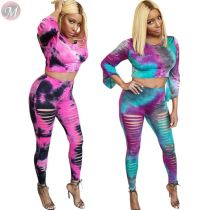 0040708 Hot Style Fashionable Tie Dye Print Sexy Crop Top Tight Long Pants Suit Casual Clothes Women Two Piece Outfits Set