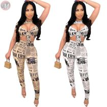 0040712 Best Price Wholesale Clothing Sexy Letter Newspaper Print Crop Top Short Sleeve Long Pant Sets Women Two Piece Set