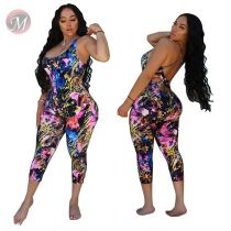 0041404 Wholesale 2020 new summer print backless  Jump Suit Bodycon Sexy Women One Piece Jumpsuits And Rompers For Woman