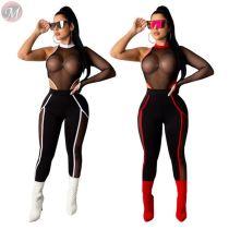 0040703 Best Design Hot Fashionable Sexy Stretch transparent Lady Pants Mesh Clothing Sets Women Clothing 2 Piece Set