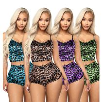 0040915 Latest Design Summer Clothing 2020 Fashion Leopard 2 Piece Short Set Boutique Women Clothing Womens Two Piece Outfits