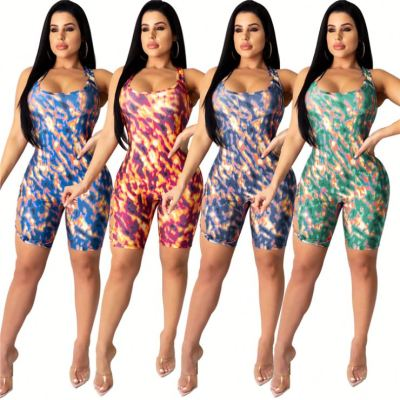 0040908 Popular 2020 Summer Colorful Overall Print Suspender Backless Binding One Piece Sexy Short Lady Jumpsuit