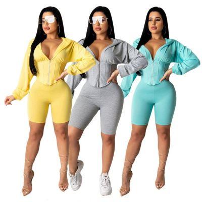 0040920 Fashional Pure Color Corset Bodysuit Top And Shorts Sportswear Latest Design Woman Jogger Clothing 2 Piece Set Women