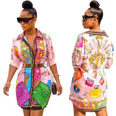 0040919 Sexy Maxi Beach New Design Solid Ladies Simple Fashion Summer Midi Long Sleeve Print Elegant Women Midi Casual Dresses