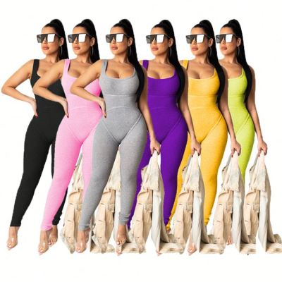 0040916 Women Off Shoulder 2020 Sexy Knit Strip Pure Color Summer Bodycon Sleeveless Women Casual One Piece Long Pant Jumpsuit