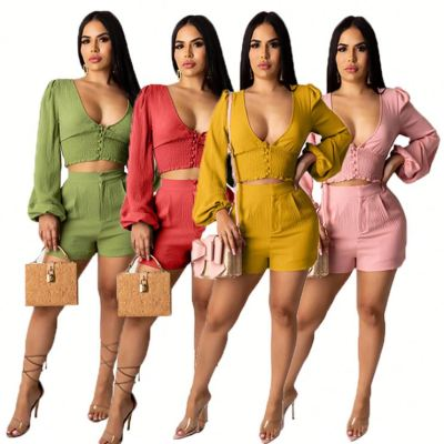 0040912 Ruffle Shorts And Top Set Latest Design Deep V Neck Long Sleeve Shirt And Shorts Sexy Suit Women Summer Two Piece Set