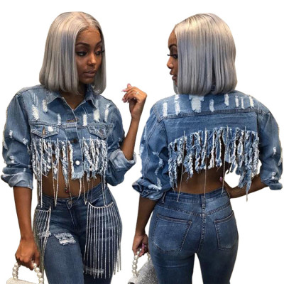 9112929 best seller stylish ripped distressed tassel crop denim jean coat Womens Fashion Clothing