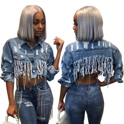 9112929 best seller stylish ripped distressed tassel crop denim jean coat Womens Fashion Clothing