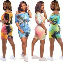 0040918 Wholesale Long Sleeve Tie Dye Print Off Shoulder Latest Design Ladies Clothes Casual Wear Shorts Set Women Two Piece Set