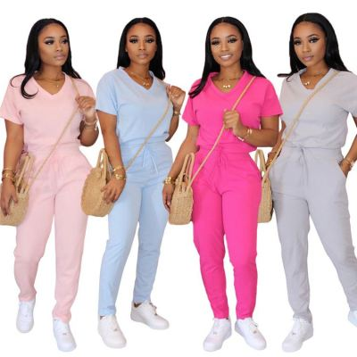 0040914 Tshirt And Pants Wholesale 2020 Casual V Neck Pure Color Set Fashion Style Sportswear Womens Sports Jogger 2 Piece Sets