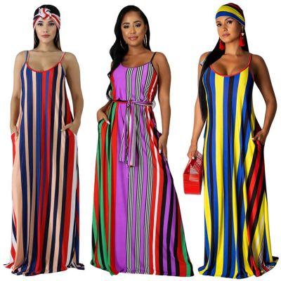 0040909 New Style Spaghetti Strap Striped Belt Leisure Loose Maxi Summer Plus Size Clothing Long Dresses Sexy Women Dress