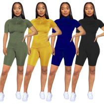0040907 Best Seller Solid Zipper Short Sleeves Sports Wear Casual Tracksuit Pants Clothes 2 Piece Sets Women Two Piece Outfits