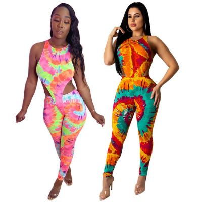0040902 Best Price Wholesale Fashion Colorful Print Sexy Sleeveless Stretch Ladies Clothes Long Pant Sets Women 2 Piece Sets