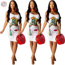 0041804 wholesale sexy Lady Clothes Elegant sleeveless bodycon print Summer Women Girls' Casual Dress