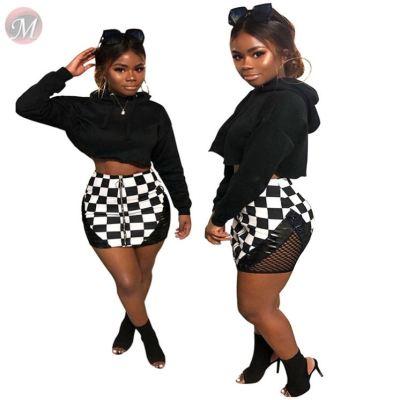 0041822 Fashion casual Ladies skirts Summer Sexy mesh splice plaid print Casual Dress Women Cloth Short Mini Skirts