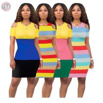 0041812 2020 Latest design Women Girls' Clothes Sexy bodycon striped splice Lady Elegant Summer Casual Dress
