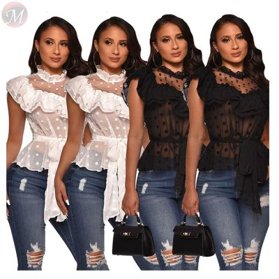 0041710 Hot Selling New 2020 Polk Dolt Bow Not See Through Ruffled Fashion Casual Clothes Short Sleeves Sexy Blouse Women Tops