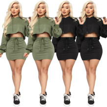9112001 fashion solid crop hooded hoodie casual women clothing two piece short skirt set