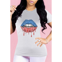 Q033012-3 Wholesale Lip American Flag Pattern Print Short Sleeve Simple Summer Casual Fashion Ladies Tee Women Tshirt T-Shirt