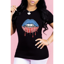 Q033012-6 Wholesale Lip American Flag Pattern Print Short Sleeve Simple Summer Casual Fashion Ladies Tee Women Tshirt T-Shirt