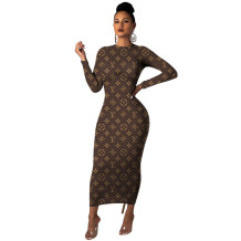 Q042402 Newest Design Long Sleeve Round Neck Letter Print Ladies Long Dress Casual Fashional Women Brown Midi Dress For Women