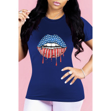 Q033012-4 Wholesale Lip American Flag Pattern Print Short Sleeve Simple Summer Casual Fashion Ladies Tee Women Tshirt T-Shirt