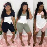 0042002 Latest Design New Short Sleeves Patched Sportswear Pants Set Casual Wear 2 Piece Set Women Fashion Two Piece Outfits