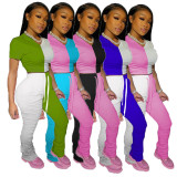 0042010 Best Price Contract Color Drawstring Short Sleeves Slimming Popular Stacked Leggings 2 Piece Set Women Long Pant Sets