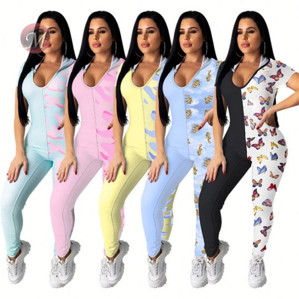 0042017 Wholesale Women 2020 Casual Romper V Neck Floral Backless Contrast Color Fashion Jumpsuits Sexy Jumpsuits For Women