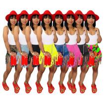 9042202 Hot sale women stylish tassel short jeans