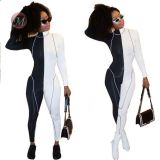 0042018 2020 Women Casual Wholesale V Neck Contrast Color Fashion Jumpsuits Reflective Rompers Summer Sexy One Piece Jumpsuit