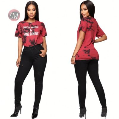 0042016 Top Seller 2020 Ladies Casual Shirts Red Color Letter Print Knitted T Shirt Short Sleeve Fashion Latest Design T Shirt