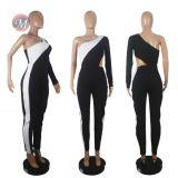 0042020 2020 Wholesale Summer One Shoulder Bandage Romper Adult Long Pant Sexy Romper One Piece Jumpsuit Women Fashion Jumpsuit