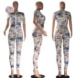 0042014 2020 Wholesale Casual Zipper Women Long Pant Romper Sexy Women Jumpsuits Fashion Women One Piece Bodycon Jumpsuit