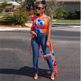 0042003 New Arrivals Fashion One Shoulder Leaves Printed Short Front Long Back Hot Sale Casual Blouse Sexy Tops Women Clothes