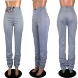 0042006 Trendy Women Clothing Solid Color Zipper Mid Waist New Stacked Leggings Skinny Long Pants Women Fashion Stretch Pants