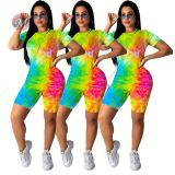0042008 Cheaper Price Wholesale Fashion Clothes Tie Dye Short Sleeves Round Collar Casual Wear Two Piece Set Women Pant Sets