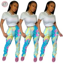 0042209 2020 Wholesale Ladies Trousers Summer Sports Pants Women Wide Leg Latest Design Fashional Printed Women Stacked Pants