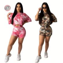 0042019 Women Top And Shorts Set Latest Design Casual Sexy Two Piece Outfits Women Short Sleeve Shorts Sets For Women Two Piece