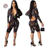 0042022 Zipper Romper Skin Tight Long Sleeve Bodycon Sexy Crop Top Latest Design Word Print Black Jumpsuits One Piece Jumpsuit