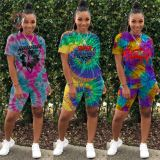 0042009 High Quality Ladies Clothes Tie Dye Print Short Sleeves Casual Wear New 2 Piece Sets Fashion Womens Two Piece Outfits