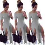 0042023 Chiffon Maxi High Quality Latest Design Knit Ladies Party Dress Off Shoulder Sexy High Slit Women Summer Casual Dress
