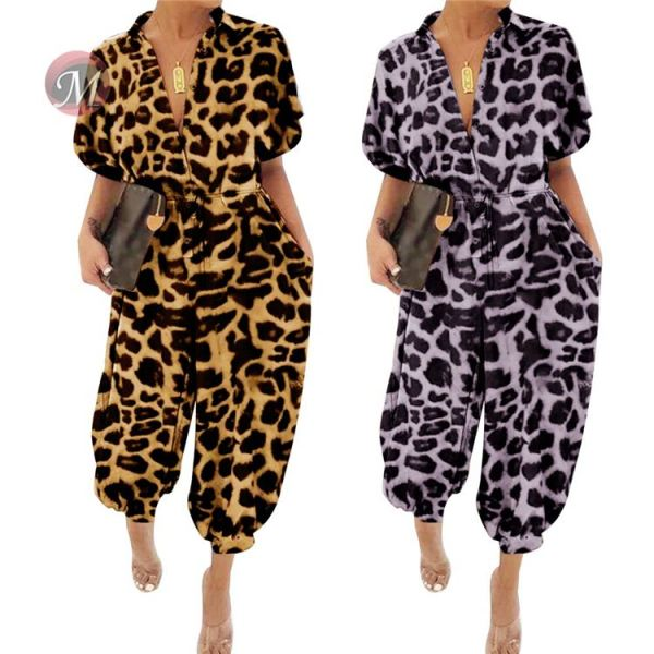 0042024 Wholesale Women Summer Long Pant Short Sleeve Sport Romper Casual Women Latest Design Leopard Jumpsuits Sexy Jumpsuit