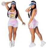 0043032 2020 summer sleeveless cartoon print Custom Fitness Jump Suit Bodycon Sexy Women One Piece Jumpsuits And Rompers