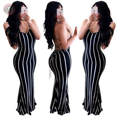 0043003 Fashion sexy v neck backless striped print bodycon lace up Lady Elegant Clothes Summer Women Maxi Long Casual Dress
