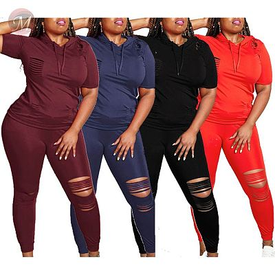 0043015 Summer casual solid color hooded hole Top And Pants Sexy 2 Pcs Track Suit Outfits Two Piece Set Women Clothing For Women