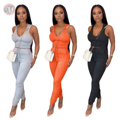 0043001 Wholesale 2020 Summer hooded Top And Pants solid color skinny Sexy 2 Pcs Track Suit Outfits Two Piece Set Women Clothing