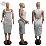 0043010 Hot sale sleeveless solid color midi women summer dress back zipper strap pleated casual long ladies fashional dresses